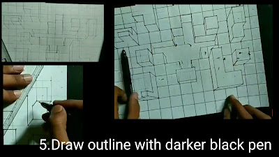 How to draw outlines of to draw 3d drawing