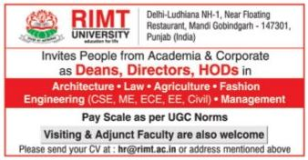 Rimt University Wanted Dean Director Hod S Facultyplus