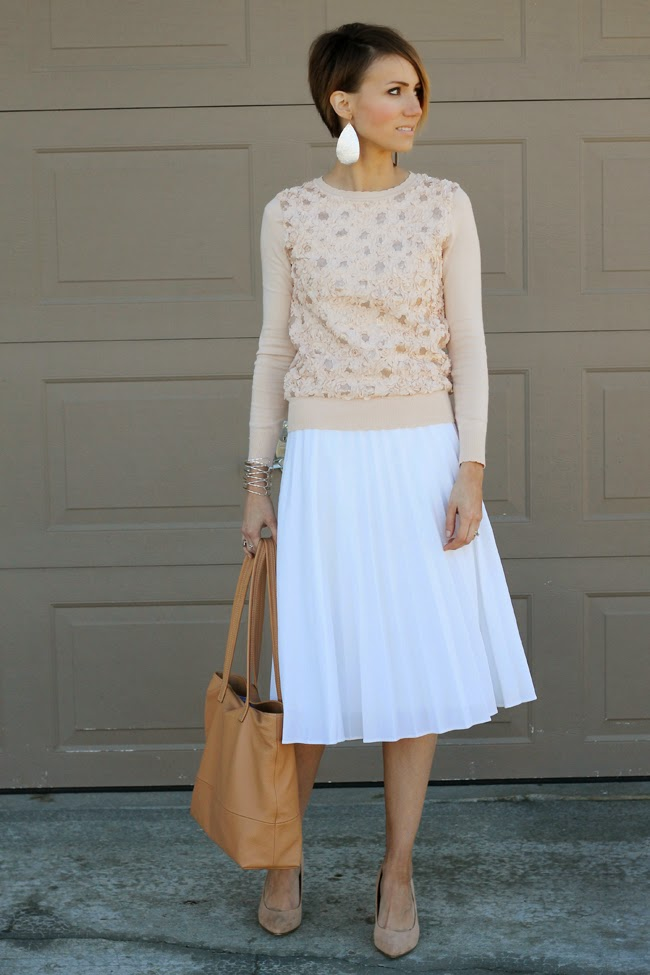 Valentine's Day- Blush Details and White Pleats