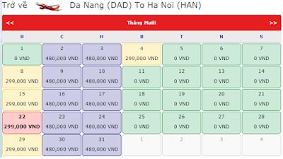Vé khuyến mãi 0 đồng của Vietjet Air tháng 9, 10, 11  từ đà nẵng đến hà nội