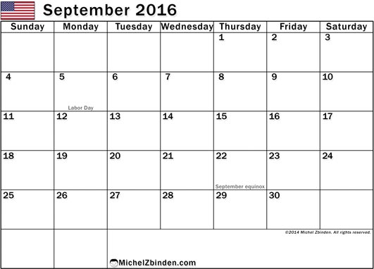 September 2016 Calendar with Holidays, September 2016 Calendar with Holidays USA, September 2016 Holiday Calendar USA, 2016 USA Holiday Calendar