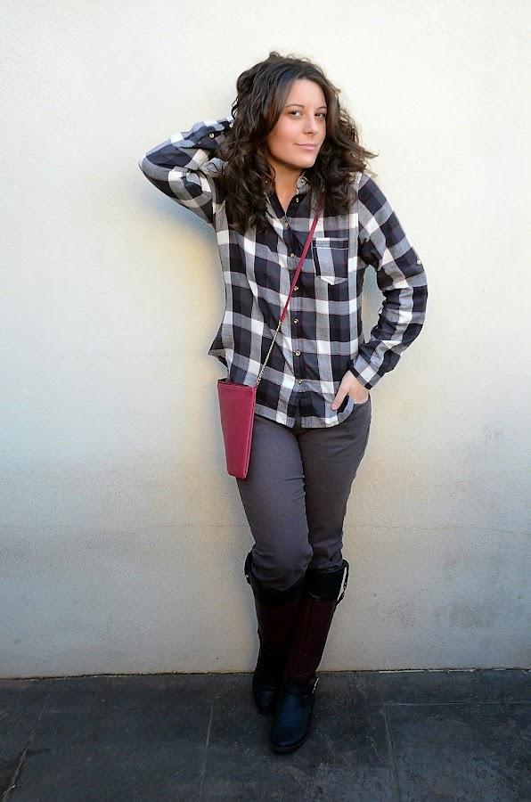 camisa de cuadros, mi vestido azul, fashion blog, blogger, look, moda, castellón, estilo