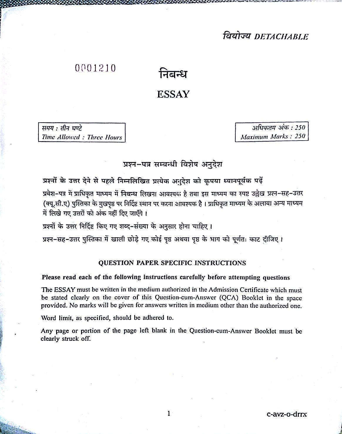 Essay Hindi