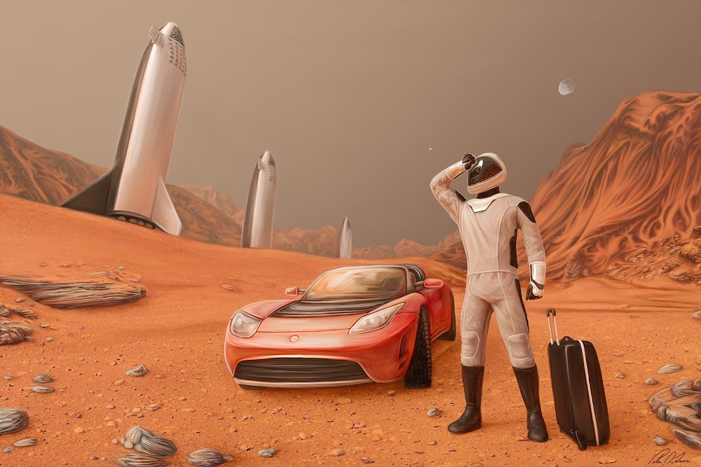 SpaceX Starman on Mars with his Tesla Roadster and Big Falcon Ships in the background