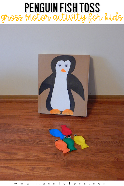 Gross motor activities for kids are very important. Our tot school curriculum incorporates themed activities into our daily schedule. Find out how easy it is to set up fun penguin themed gross motor activities for your toddler like this penguin fish toss.