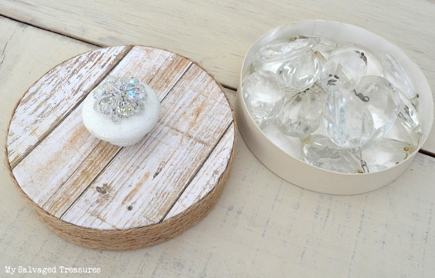 upcycled cheese box for holding chandelier crystals