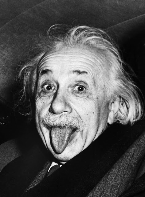 Albert Einstein refusing to smile for photographer Arthur Sasse on the famous physicist's 72nd birthday (March 14, 1951)