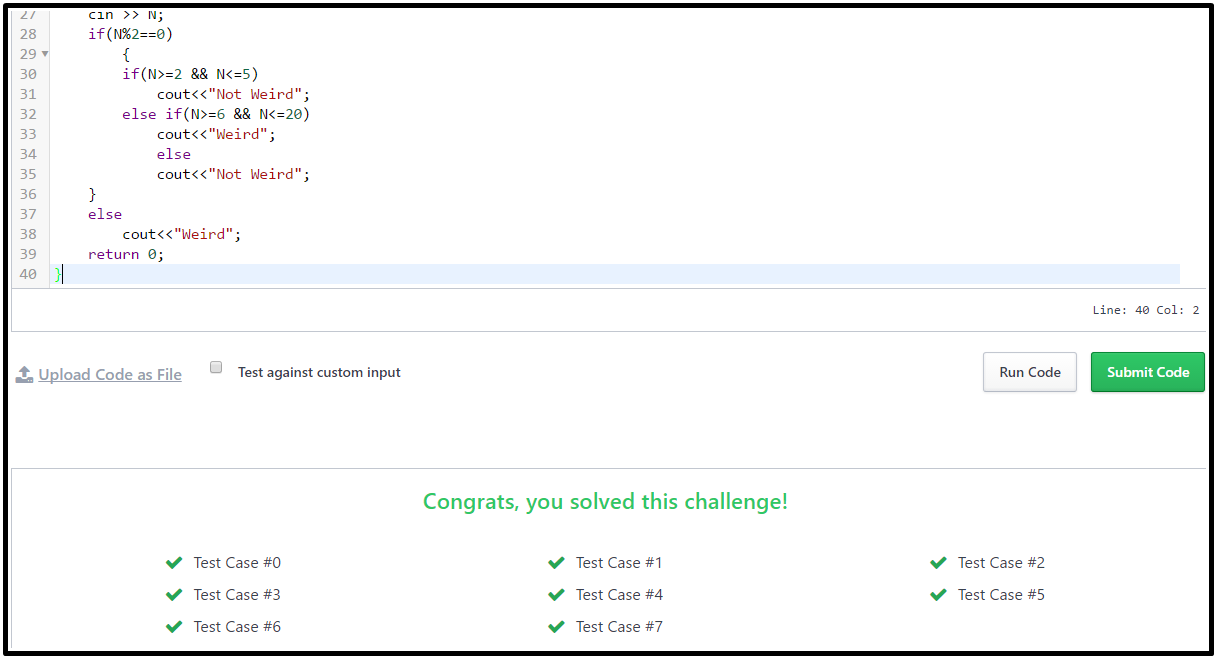 Hackerrank Solution For Day 3: Intro to Conditional Statements output