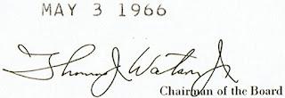 Facsimile signature of Thomas John Watson Jr.