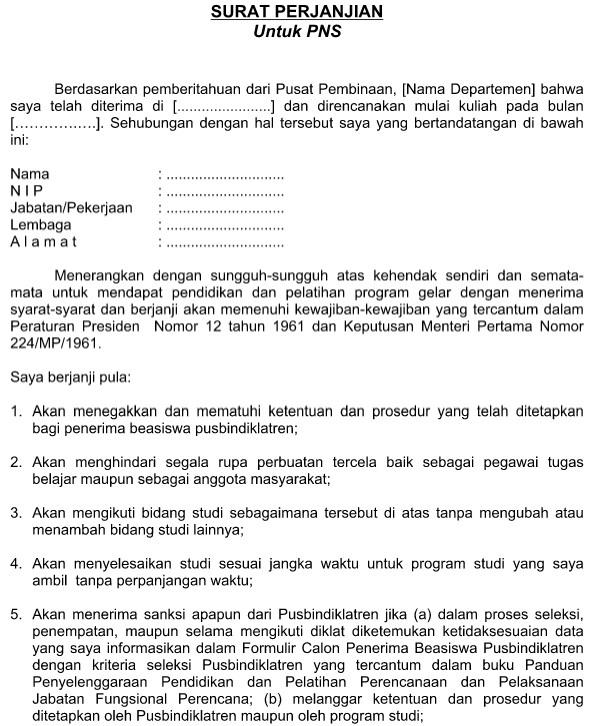 Contoh Surat  Format Perjanjian Kerja PNS dan CPNS Terbaru File Word