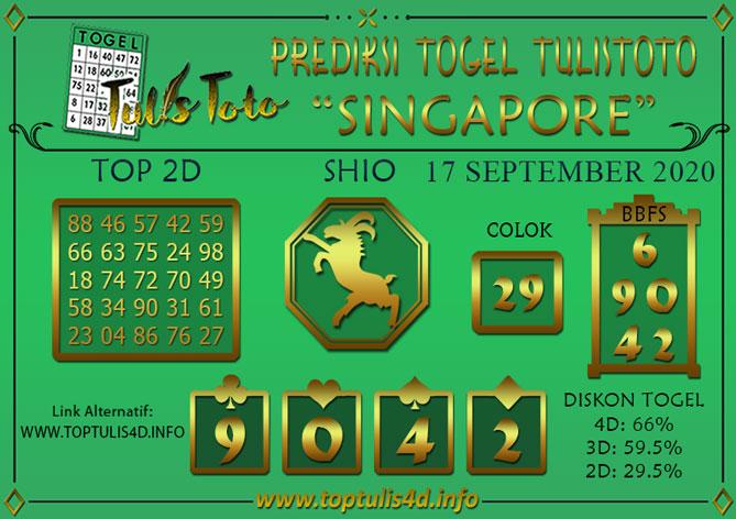 Prediksi Togel SINGAPORE TULISTOTO 17 SEPTEMBER 2020