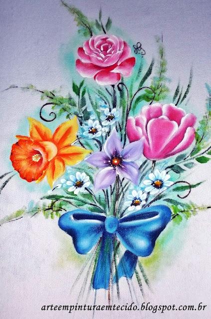flores pintadas pano de copa