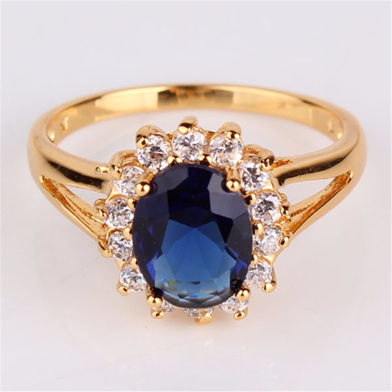 F2m shop gold plated blue stone ring with big oval for Is gold plated jewelry worth anything