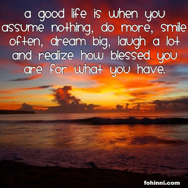 A Good Life Is When You Assume Nothing, do more, smile often, dream big, laugh a lot and realize how blessed you are for what you have.