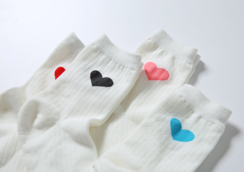 Heart Print Ribbed Socks
