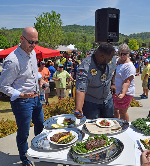 Mike McCloud, owner of MMA Creative and organizer of the World Food Championships with emcee Chef Jernard Wells