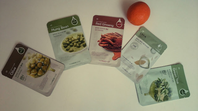 the face shop, real nature masks, Olive, Mung beans, green tea, chia seeds, red ginseng