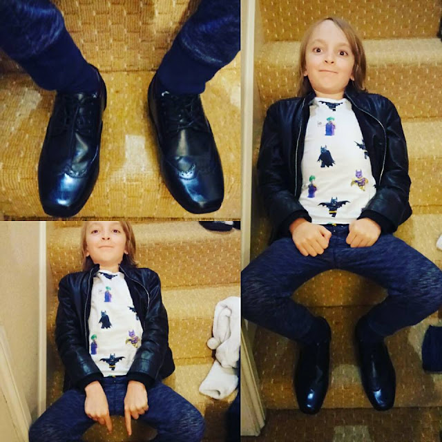 3 photos, one of George's smart shoes and two of George posing on a set of stairs.