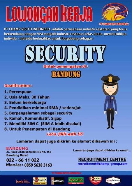 Lowongan Kerja Security PT. Cham Resto Indonesia