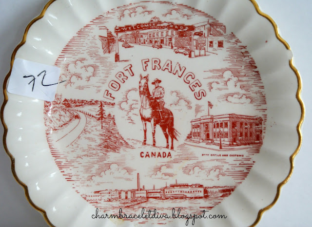 vintage Fort Frances Canada gold leaf commemorative plate