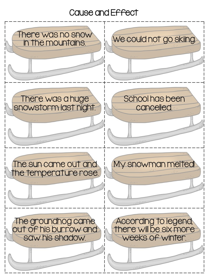 Classroom Freebies Too: Winter Cause and Effect Matching Game