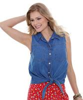 Moda Marisa Camisa feminina jeans tira laço