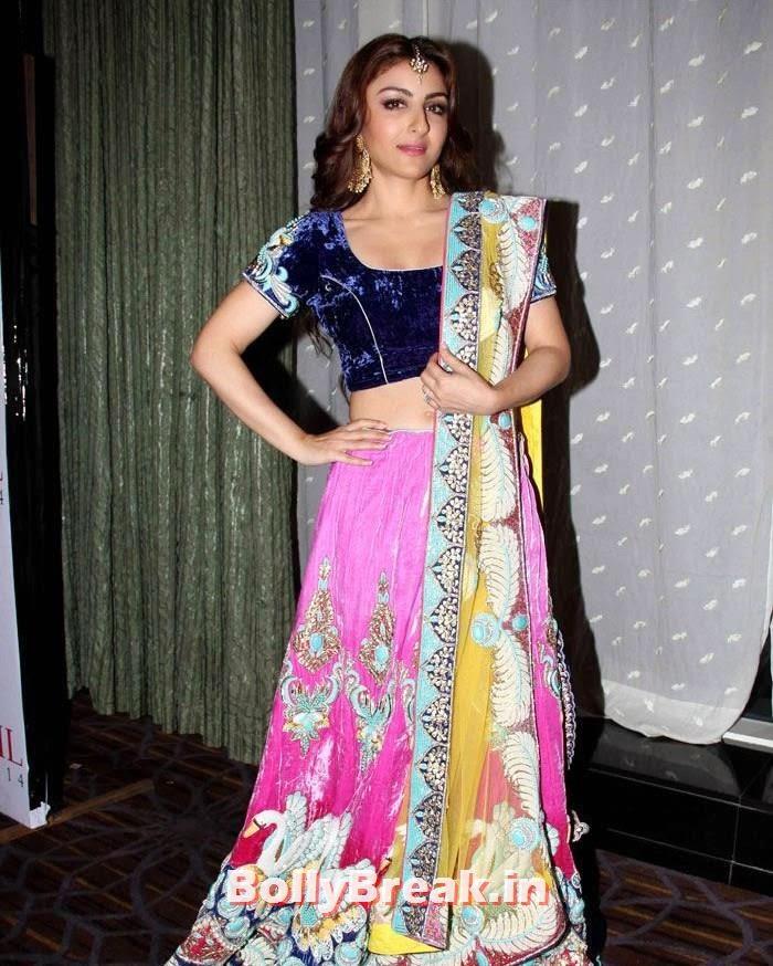 Globoil Awards, Soha Ali Khan in Pink & Blue Lehenga Choli at Globoil Awards 2014