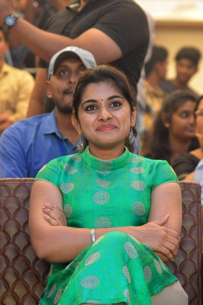 Niveda Thomas During Ninnu Kori Blockbuster Celebrations at Vijayawada