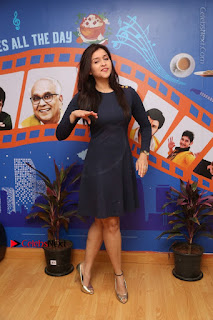 Actress Mannara Chopra Stills in Blue Short Dress at Rogue Song Launch at Radio City 91.1 FM  0074.jpg