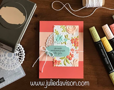 Stampin' Up! Country Floral Embossing Folder ~ Part of my Story ~ 2019 Sale-a-Bration ~ www.juliedavison.com