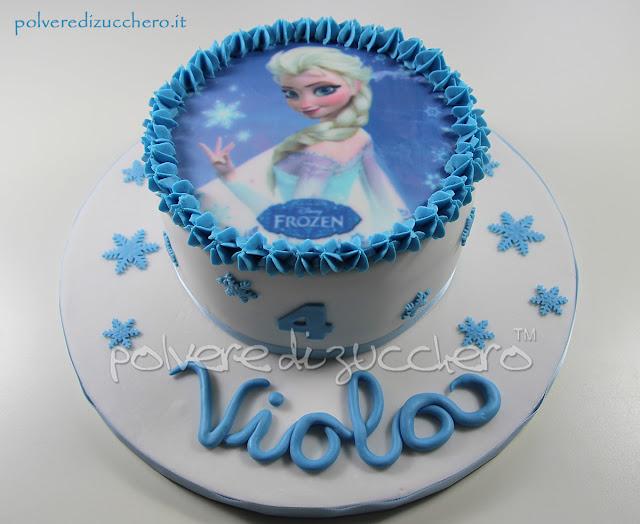 elsa frozen disney pasta di zucchero cialda torta decorata cake design polvere di zucchero