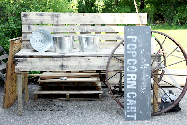 Rustic Pallet Wood Popcorn Cart, Bliss-Ranch.com