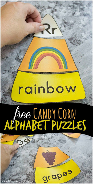 FREE Candy Corn Phonics Puzzles - this super cute and easy to play alphabet activity is perfect for kids in toddlers, preschool, kindergarten and first grade. It's a great fall activity to learn the alphabet.