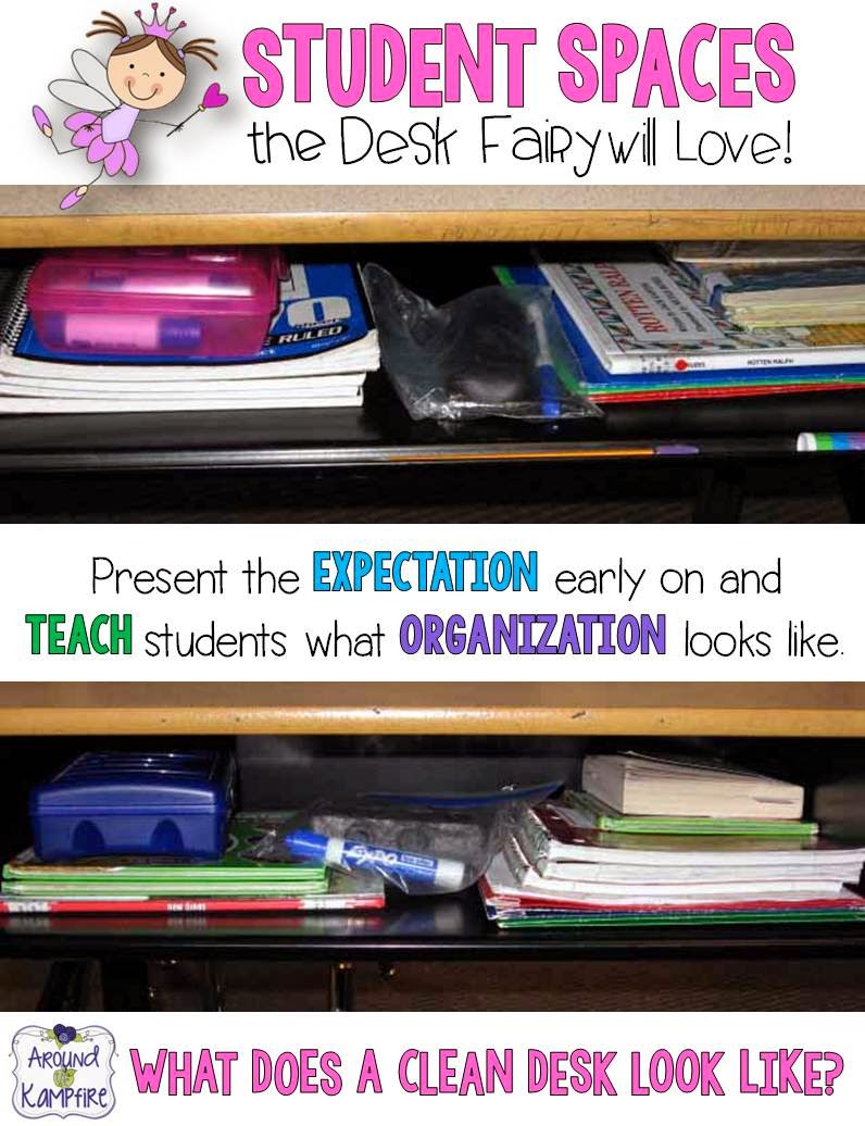 Student Spaces the Desk Fairy Will Love! Teaching students to stay organized.