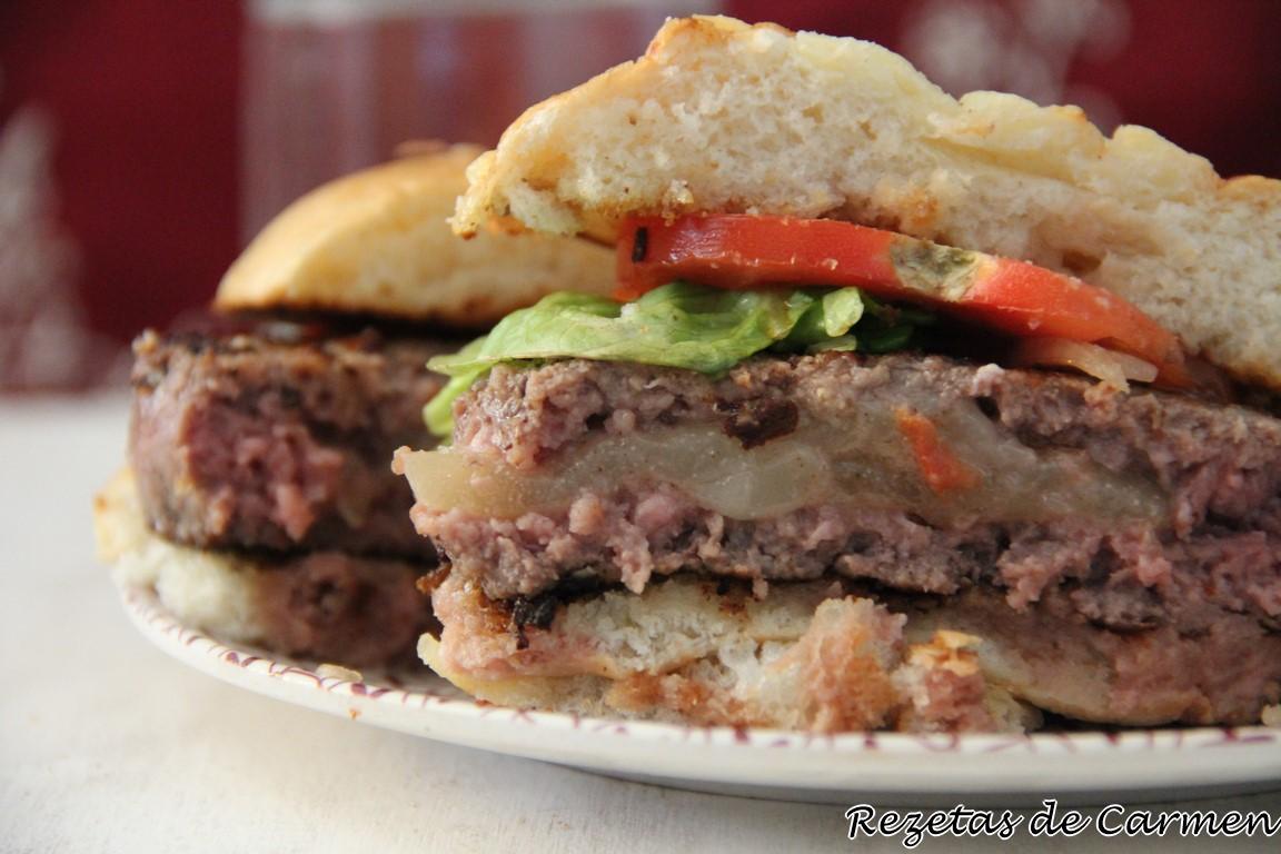 Rezetas de carmen hamburguesas rellenas de champi ones y - Plancha para hamburguesas ...