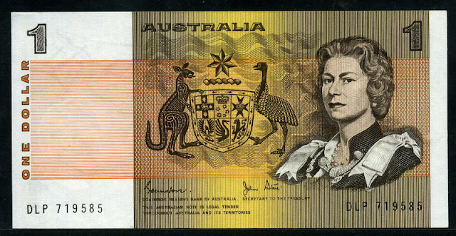Australian banknotes currency dollar Queen Elizabeth