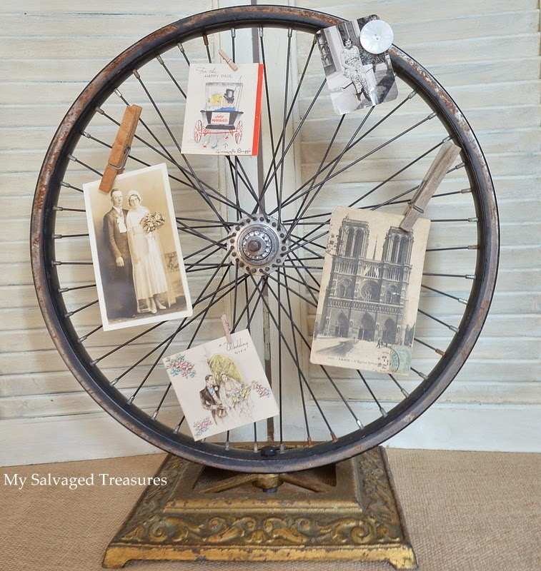 bicycle wheel lamp base picture holder MySalvagedTreasures.blogspot.com