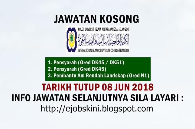 Jawatan Kosong Kolej Universiti Islam Antarabangsa Selangor Kuis 08 Jun 2018