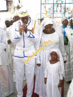 Toolz and her husband, Tunde Demerun at Cherubim & Serahim church in Lagos