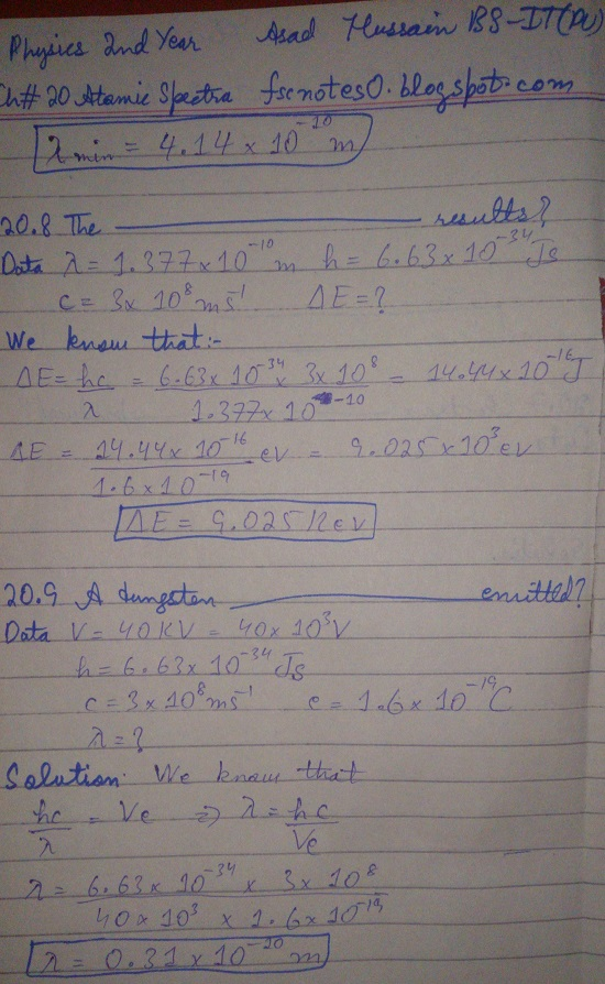 F.Sc ICS Notes: Physics XII: Chapter 20 Atomic Spectra Numerical Problems Asad Hussain 5