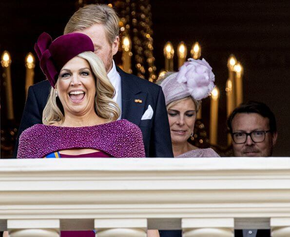 King Willem-Alexander, Prince Constantijn and Princess Laurentien. Queen Maxima wore a new dress by Jan Taminiau