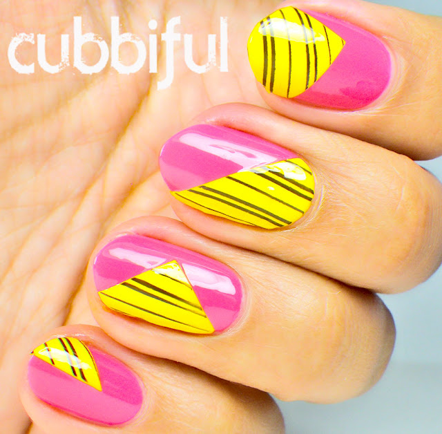 Color Block Stamping Nails