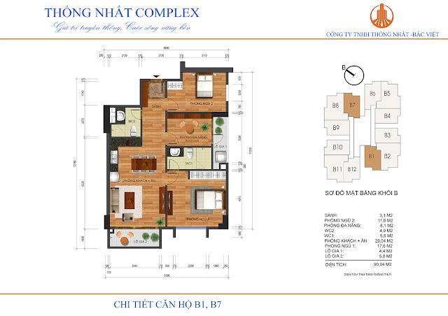 Thiết kế căn hộ B1 B7 Thống Nhất Complex - Dt 90m2