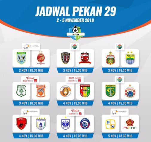Jadwal Liga 1 2018 Pekan 29 - Siaran Langsung Indosiar, OChannel