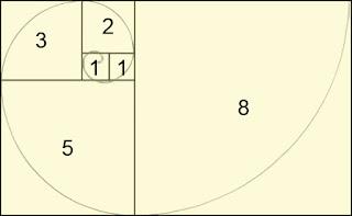 تقسيم مستطيل بنفس أرقام متتالية فيبوناتشي ليعطي شكل الحلزون