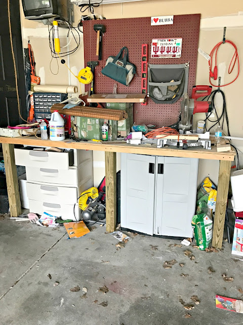 Cleaning and organizing a messy garage