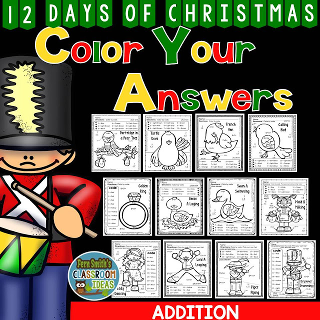 This Christmas resource is part of the larger resource, Christmas Math: Christmas Fun! Addition Facts Plus One to Plus Twelve - Color Your Answers Printables ~ click here to purchase it at TeacherspayTeachers.