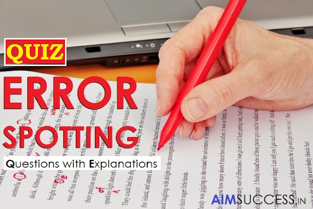 Error Detection MCQ for SBI Clerk 2018: 06 April