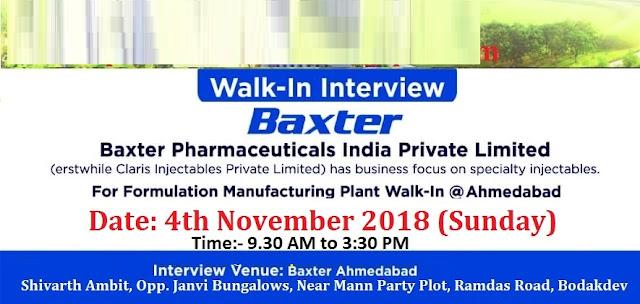 Baxter Pharmaceuticals India Pvt. Ltd Walk-In Drive M.Sc, B.Sc, B.Pharm, M.Pharm at 4 November