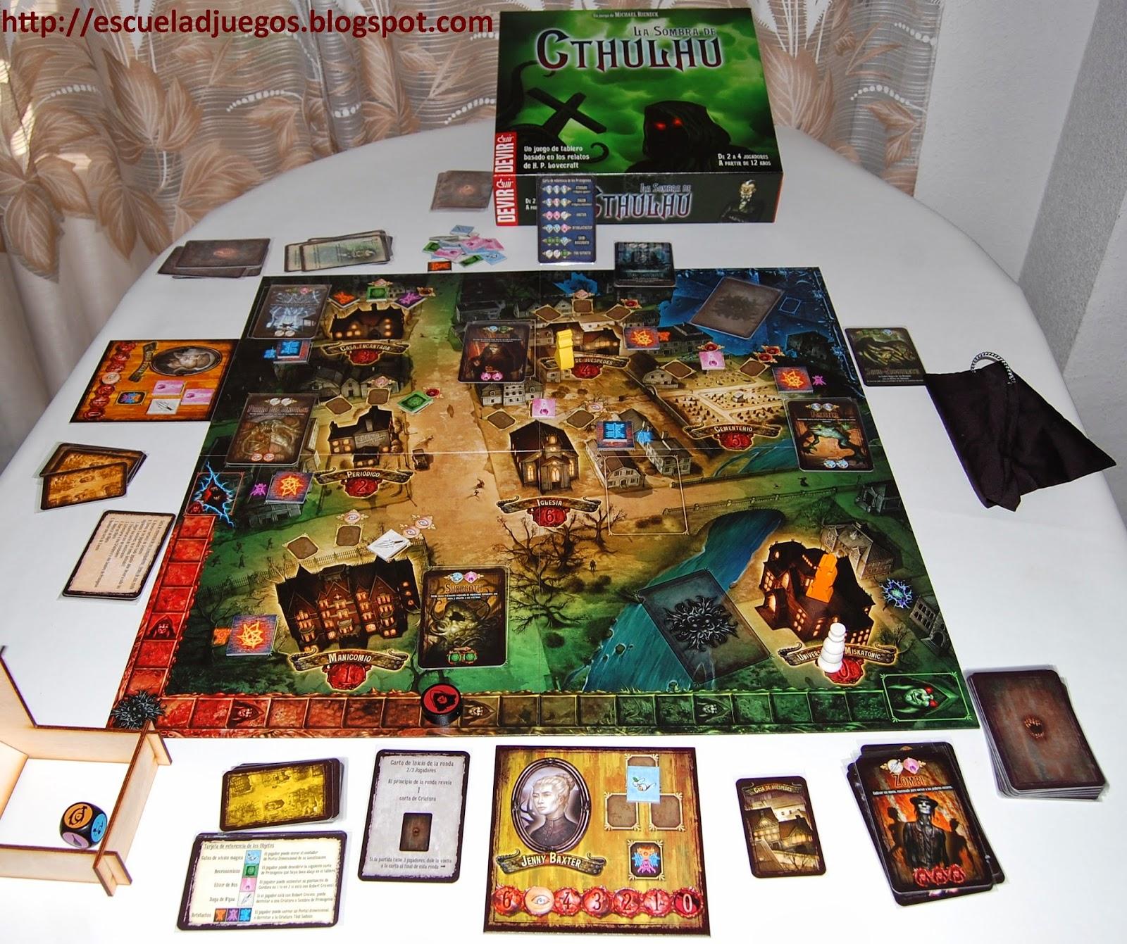 Reseña de La sombra de Cthulhu, juego de mesa cooperativo para hasta 4 jugadores ambientado en el mundo de H.P. Lovecraft y editado en español por Devir